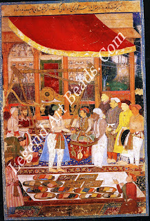 EMPEROR JAHANGIR WEIGHS PRINCE KHURRAM (later Shah Jahan) from a manuscript of the Tuzuk-i-Jahangiri Mughal c.1610-1615 Opaque watercolour on paper Miniature: 28.4 cm x 12.8 cm 0 Trustees of the British Museum, London (1948.10-9069) The Tuzuk-i-Jahangiri records:  in this year. Which was the commencement of my son Khurram's sixteenth lunar year  I gave an order that they should weigh him according to the prescribed rule, against gold, silver, and other metals