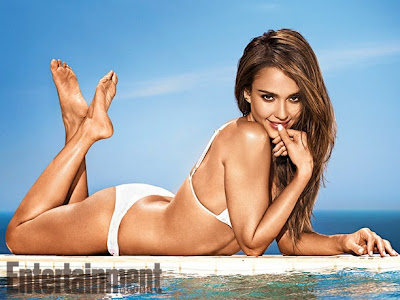 Jessica Alba sexy wet posed in tiny bikini for Entertainment Weekly magazine