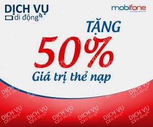 Mobifone khuyến mãi 50% giá trị thẻ nạp ngày 06/05/2015