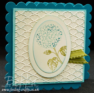 Beautiful Hydranga image from the 25th anniversary stamp set Best of Flowers.  Card by UK Stampin' Up! Demonstrator Bekka Prideaux - get these stamps here