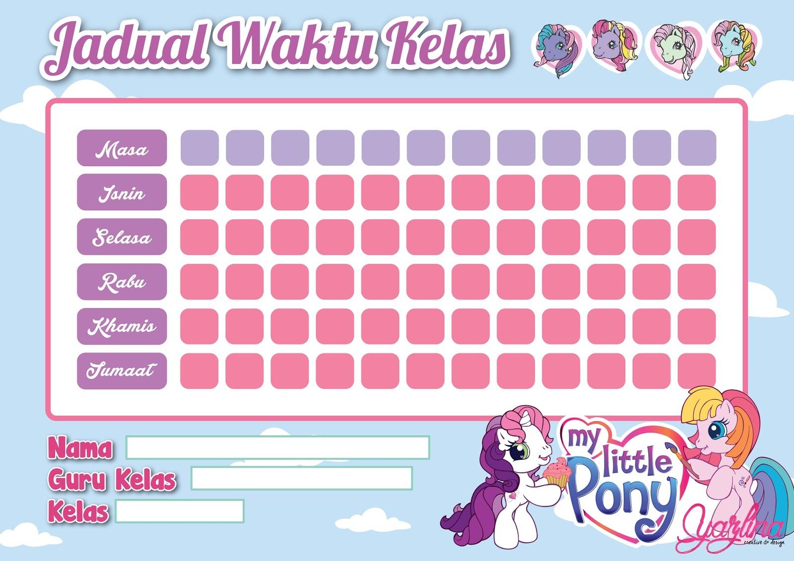 School timetable template.....barbie, poney, marvel, spiderman, frozen ...
