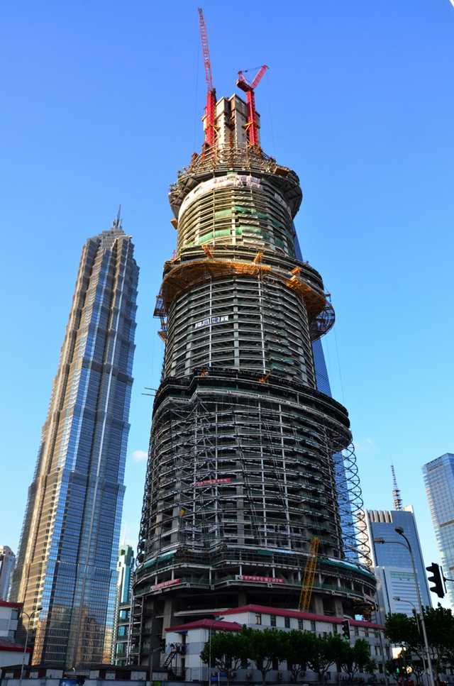 Shanghai Tower construction from the street looking up
