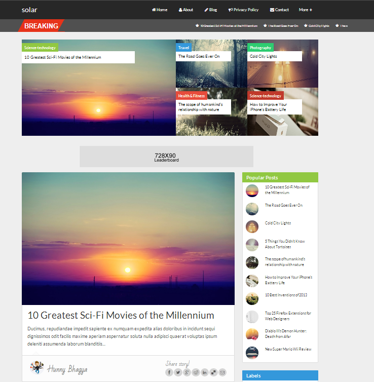 Share Solar Responsive Blogger Template