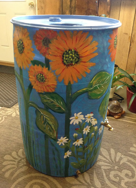 Sunflower and Daisy Rain Barrel title=