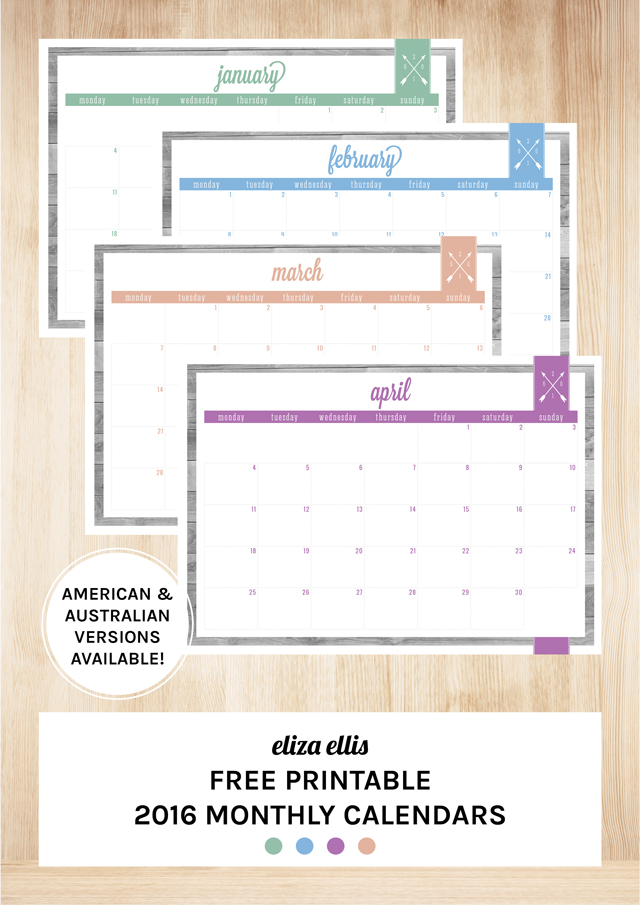 Free Printable 2016 Home Organizer Calendars & Covers by Eliza Ellis ...