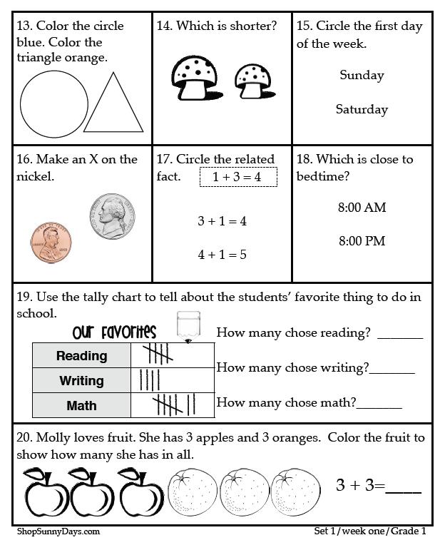 First grade ccss math worksheets