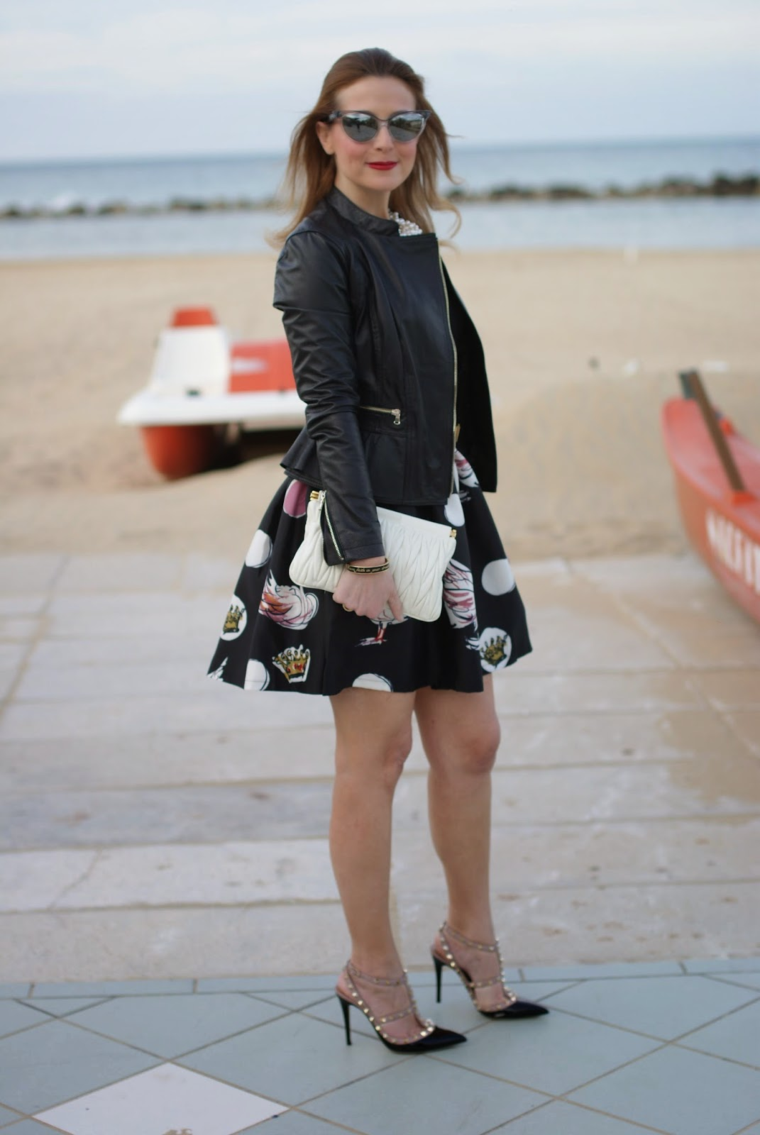Mini dress, Zaful dress, leather jacket on a dress on Fashion and Cookies fashion blog, fashion blogger style