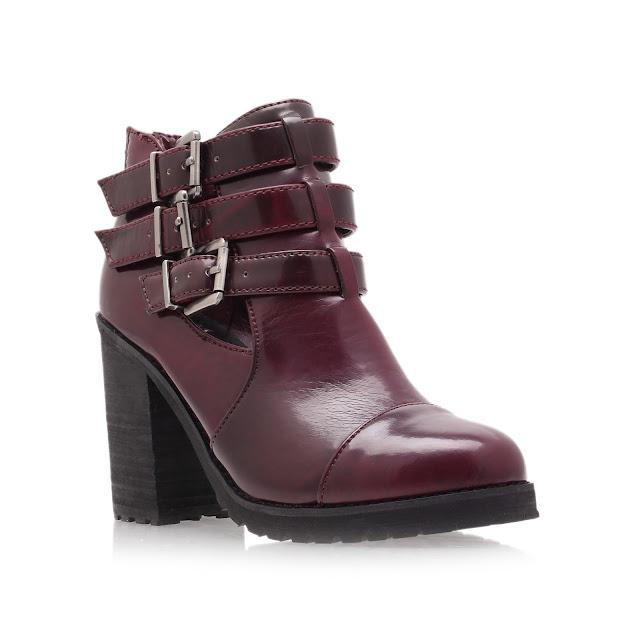 kurt geiger red boots, buckle boots,