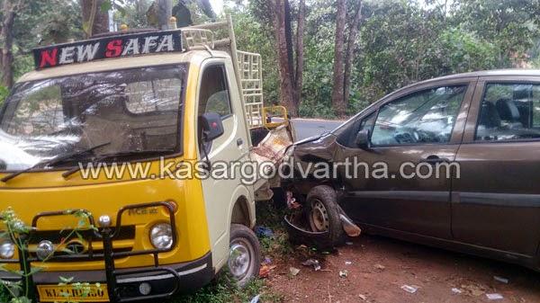 Uppala, Youth, Accident, Car, Injured, kasaragod, Kerala, Ganesh, One injured in car-tempo collision at Uppala