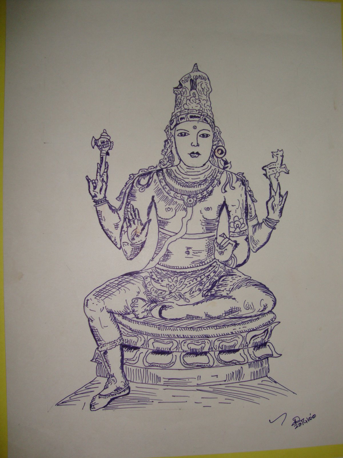 Amman hindu god plain sketch