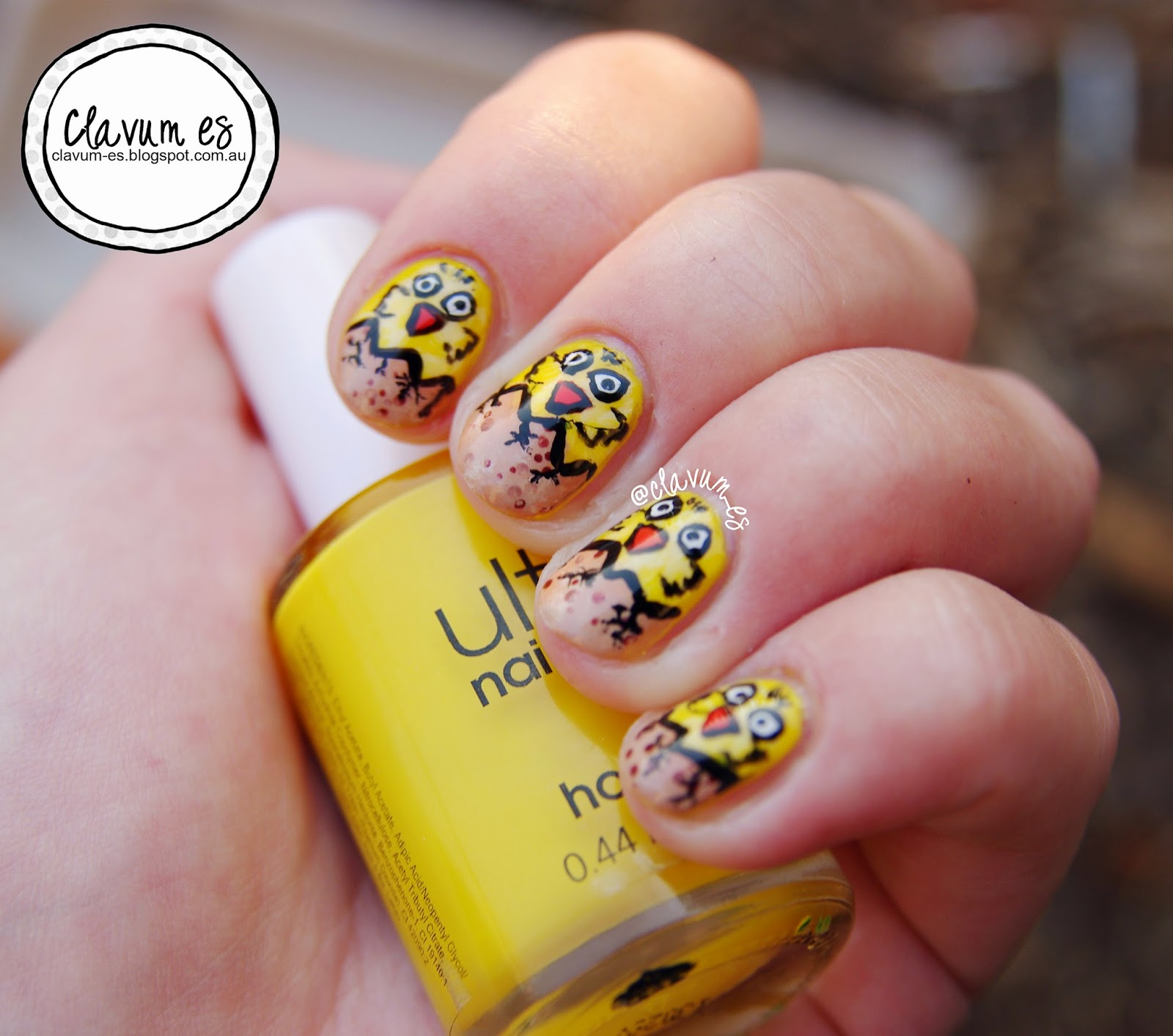 Easter Chicken Nail Art