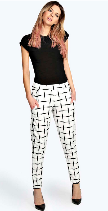 Celia Crepe Mono Grid Check Tapered Trousers   £18.00