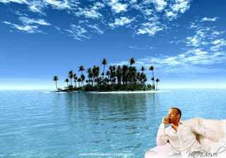 Desktop Wallpaper of Vin Diesel Resting after action movie in Paradise Island Wallpaper