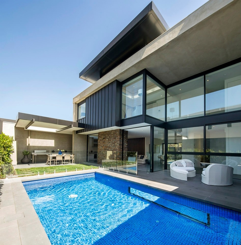 Swimming pool in the backyard of Contemporary Higham Road Home in Melbourne
