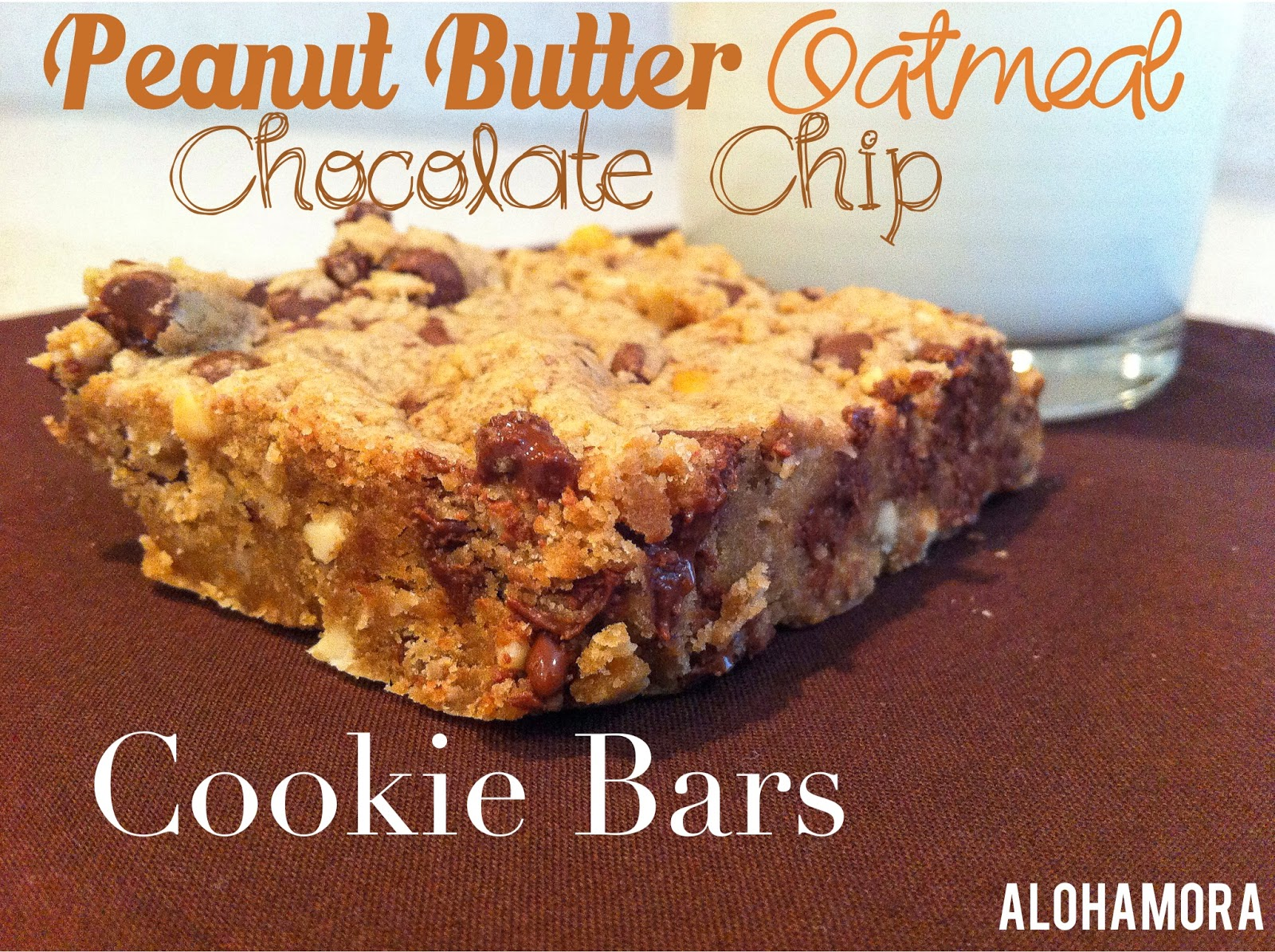 Peanut Butter Oatmeal Chocolate Chip Cookie Bars are hearty, non-greasy (b/c so many cookie bars are greasy), and DELICIOUS! Alohamora Open a Book http://alohamoraopenabook.blogspot.com/