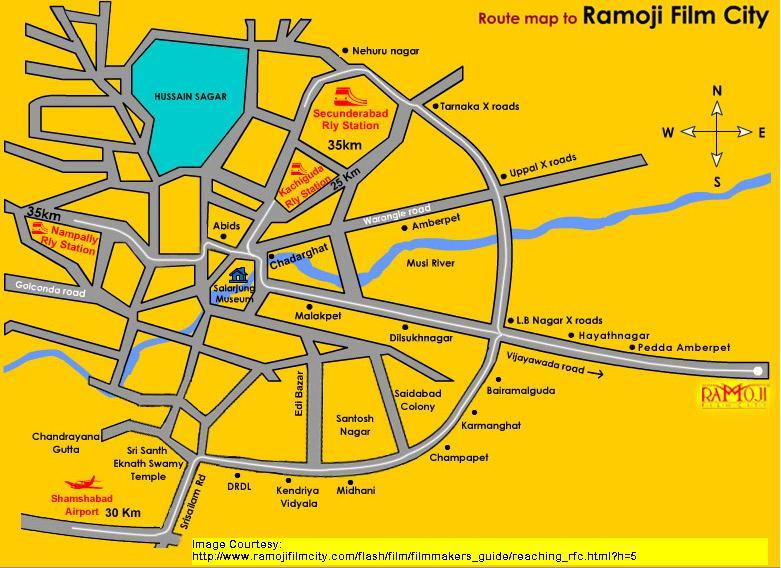 Ramoji Film City Route Map