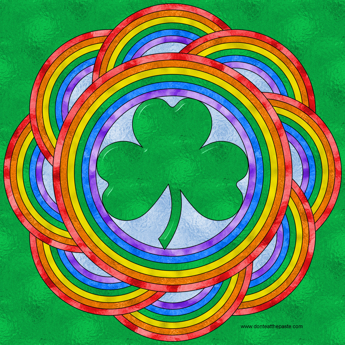 Shamrock and rainbow coloring pages