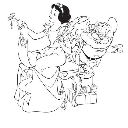 Blanche neige et la liste de noel coloriage princesse - Dessiner princesse disney ...