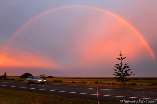 Rainbow over Hawke Bay, pictured from Pioneer Highway, SH2, Awatoto, Napier photograph