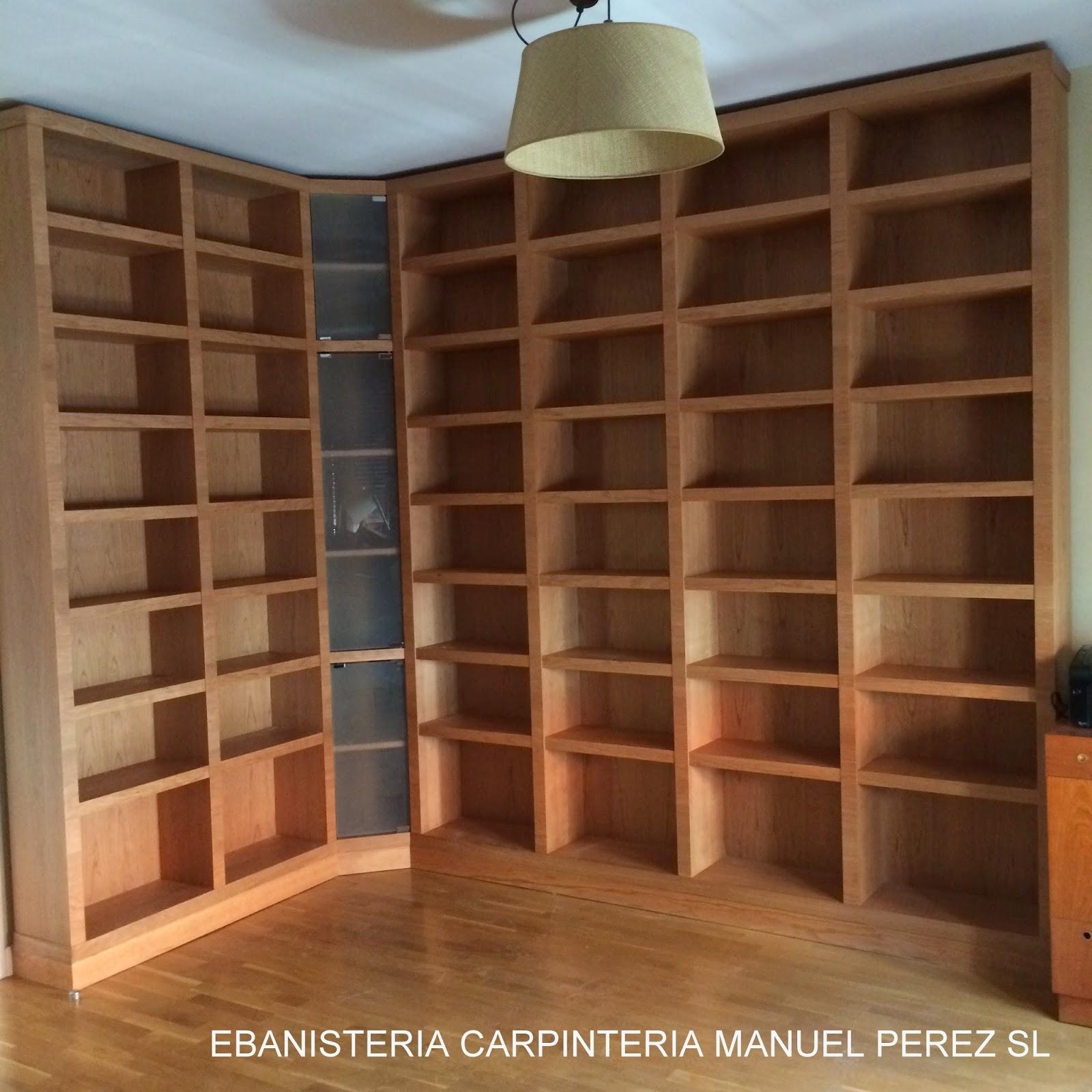 Ebanisteria carpinteria manuel perez zaragoza libreria a medida en madera maciza de cerezo - Estanterias a medida ...