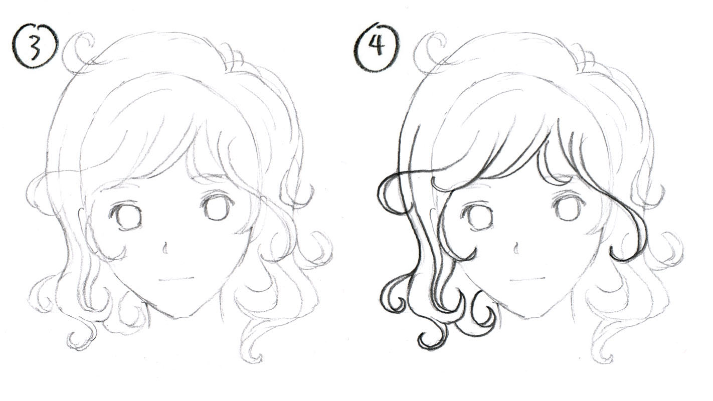 Step By How To Draw Manga Hair Curly