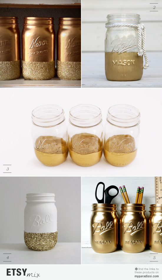 Golden hand painted mason jars via #etsy
