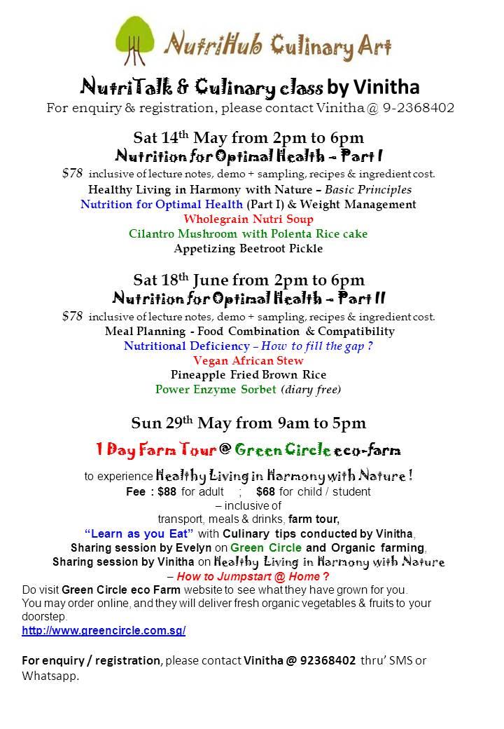 NutriTalk & Culinary classes, Organic Farm Tour
