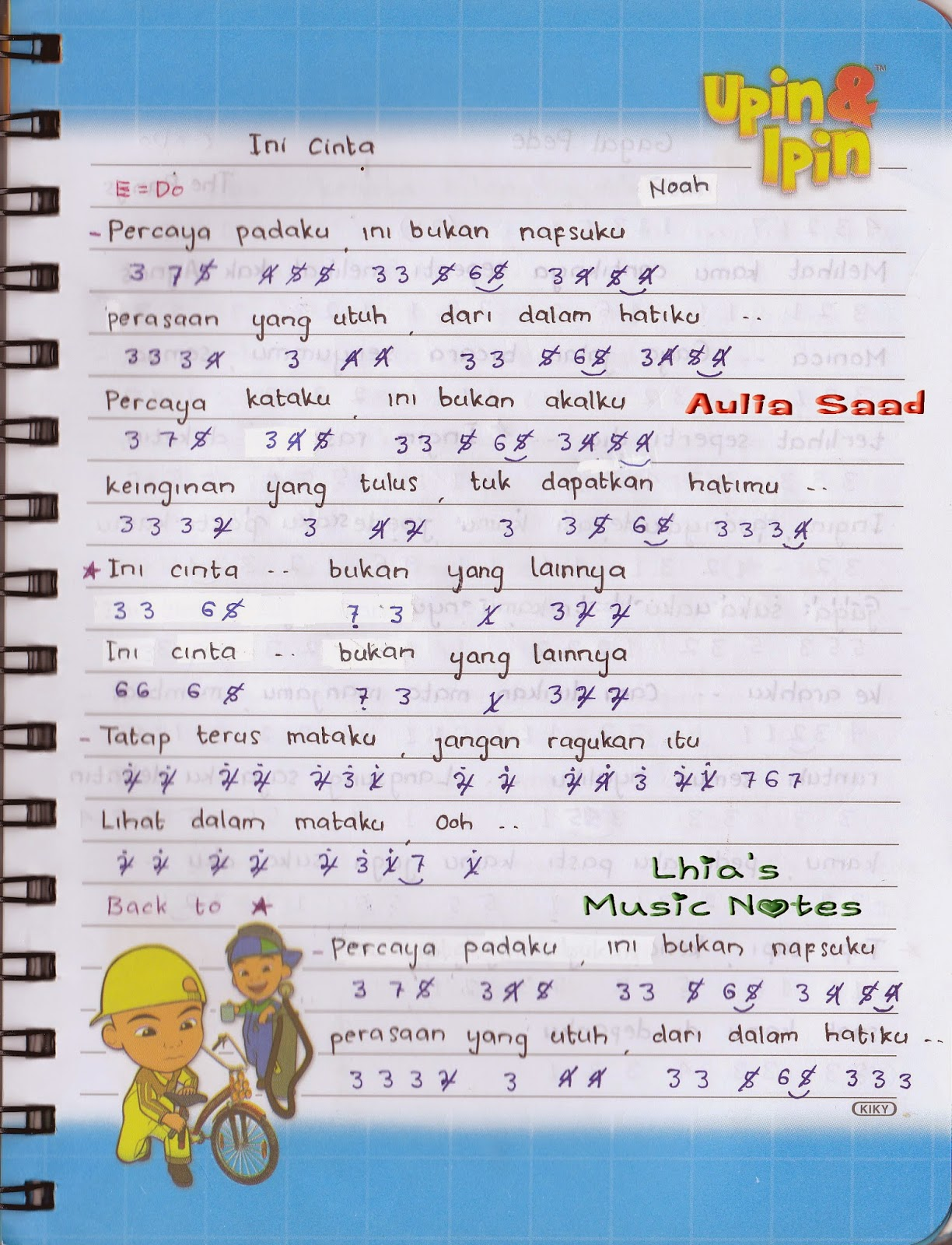 not angka lagu noah ini cinta | Lhia's Music Notes