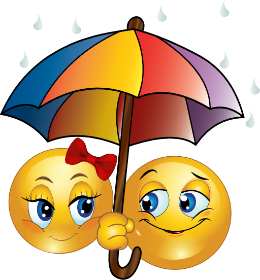 Smileys with umbrella