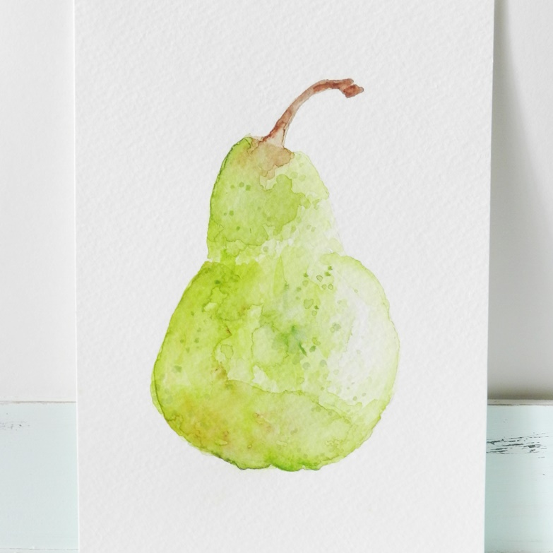 watercolor still life pear