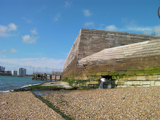 massive sea wall and cannon fortifications