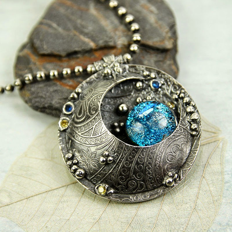 fine silver pendant - moon and earth