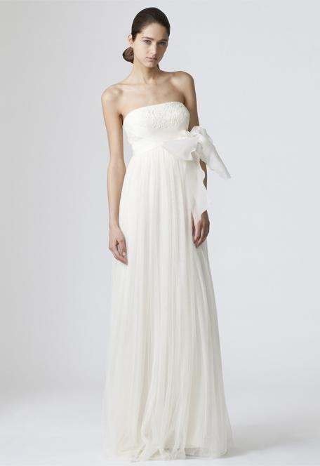 strapless floor length maternity wedding dress