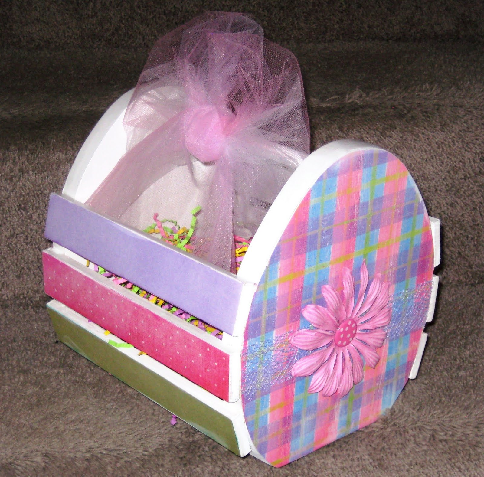 Green eyed girl crafts wood easter basket - Easter basket craft ideas ...