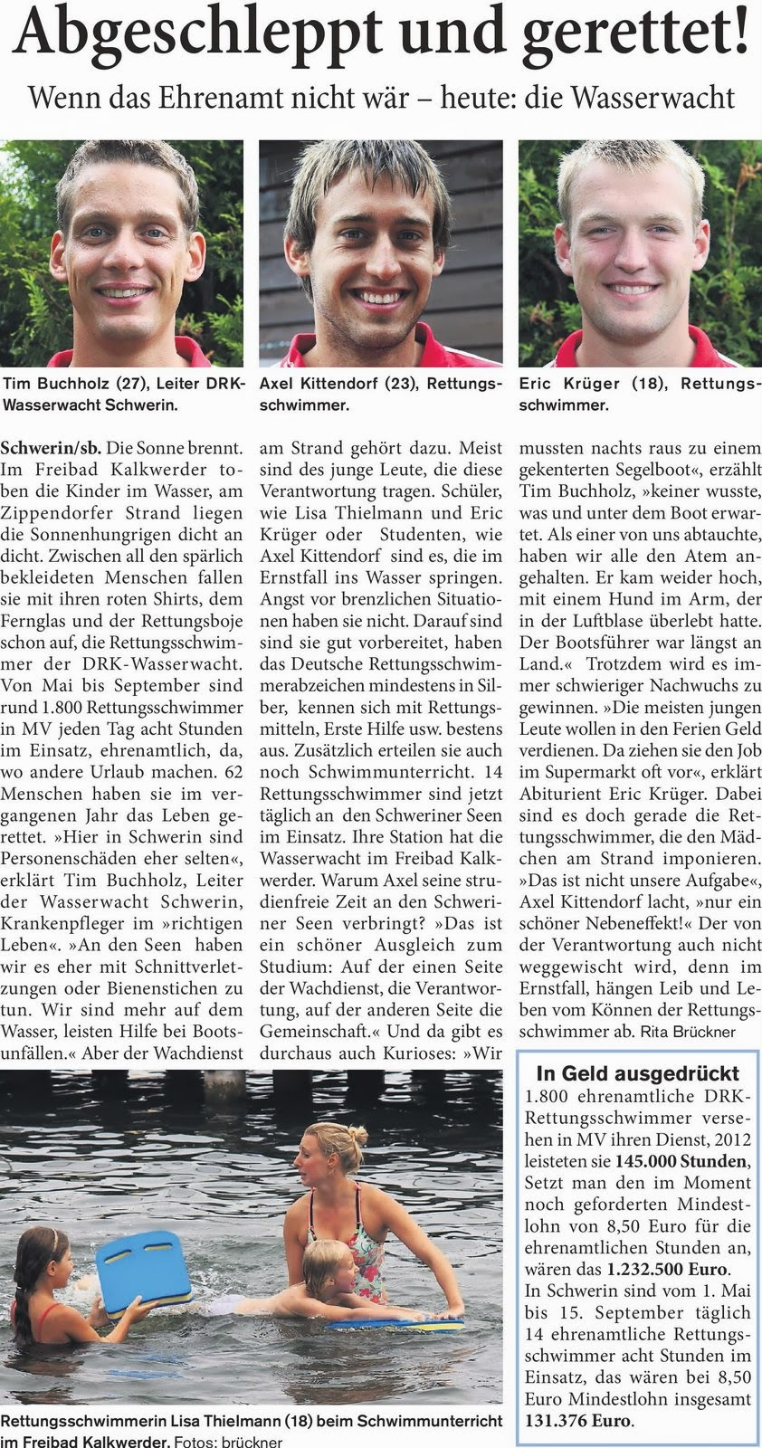 Drk wasserwacht schwerin pressespiegel for Schweriner blitz