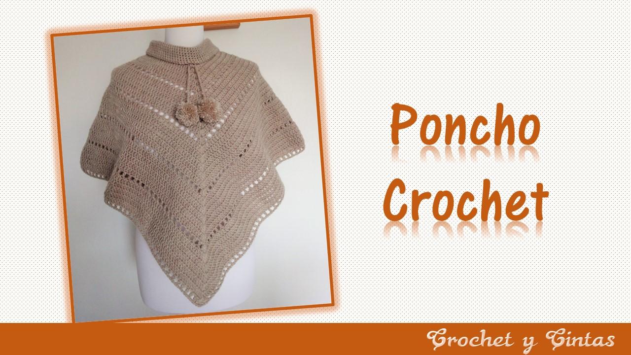 Poncho estilo V tejido a crochet ~ Crochet y Cintas