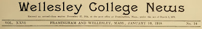 Paper title of Wellesley College News 1-10-1918