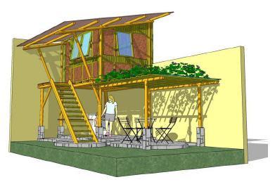teknik gambar bangunan design rumah bambu tahan gempa