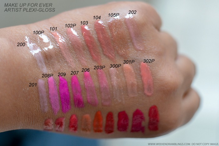 MUFE Make Up For Ever Artist Plexi-Gloss Swatches  200 100P 101 102P 103 104 105P 202 201 208P 209 207 206 203P 300P 301P 302P