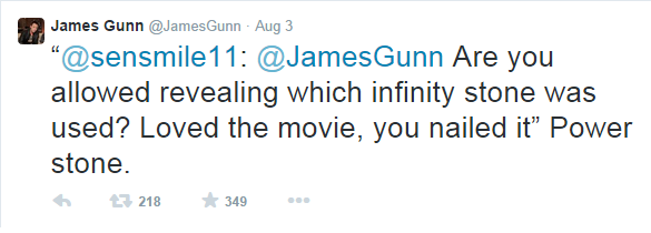 Director of Guardians of the Galaxy James Gunn confirms to a fan via Twitter that the Orb is the Power Stone.