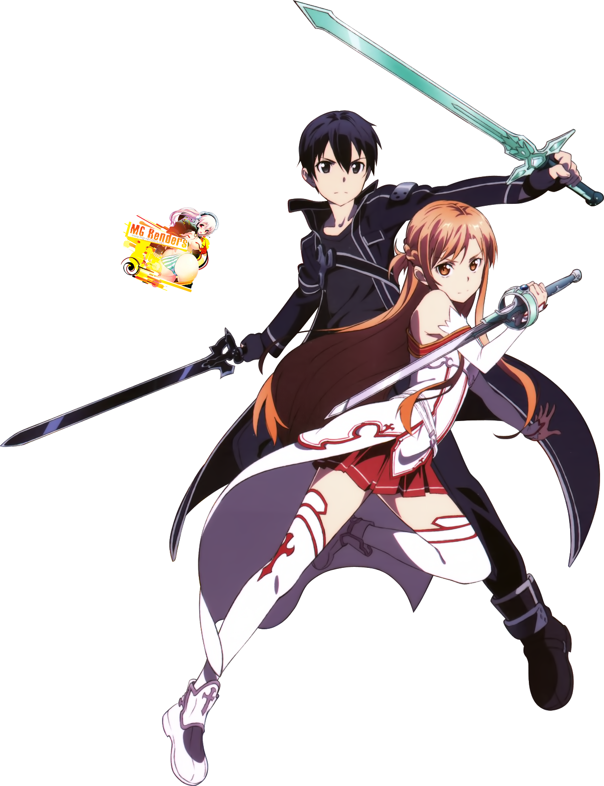 Tags: Anime, Render,  Kirito (Kirigaya Kazuto),  Sword Art Online,  Yuuki Asuna, PNG, Image, Picture
