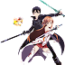 Tags: Render, Kirito (Kirigaya Kazuto), Stockings, Sword Art Online, Thigh Highs, Yuuki Asuna