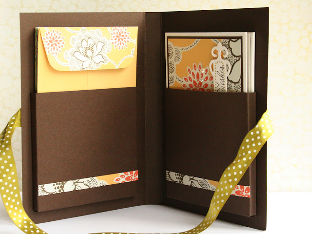 Debby Hughes - Lime Doodle Design - card, set, sets, Amy Butler, stationary, card folder, folder