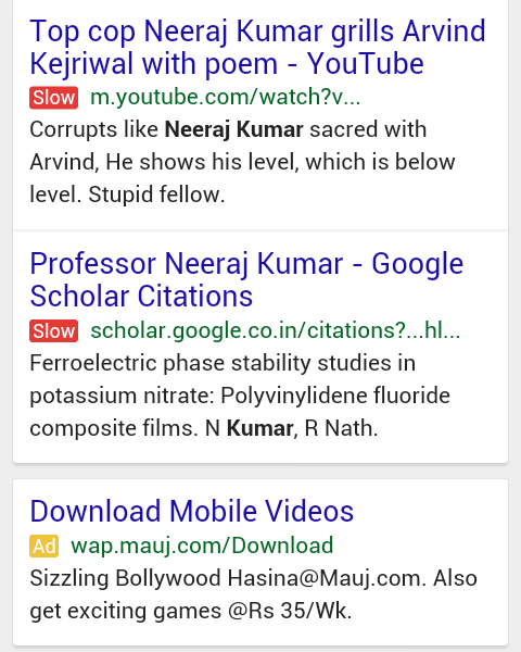Screenshot of Google's experimental Slow label in mobile SERPs