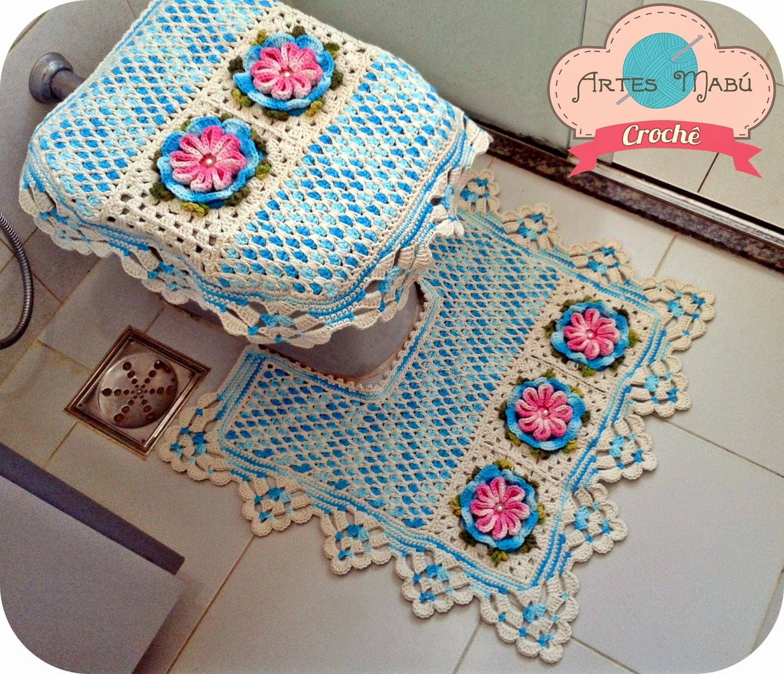 em Crochê: Jogo de banheiro Vintage e o ponto azulejo marroquino #1C7EAF 1600 1376
