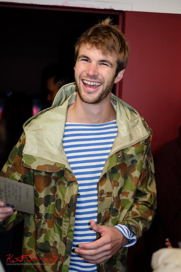 Camouflage Jacket, blue stripped long sleeve boat neck tee shirt,  55 Sydenham Rd Marrickville..  Fujifilm X-Pro1