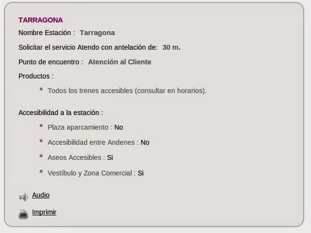 Fitxa de l'Estació de Tarragona: accessibilitat