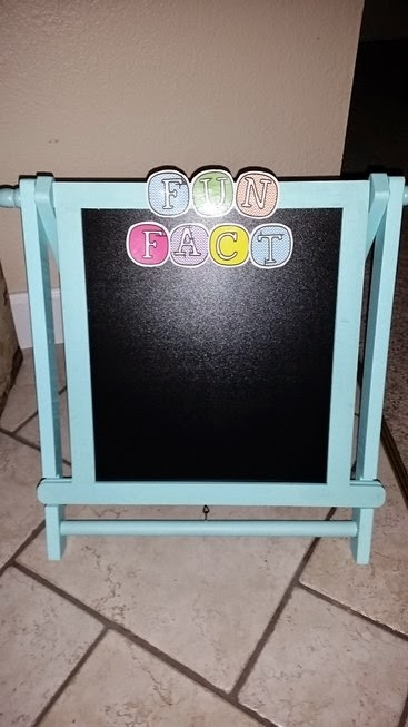 i got this little chalkboard easel at hobby lobby and made the letters for it