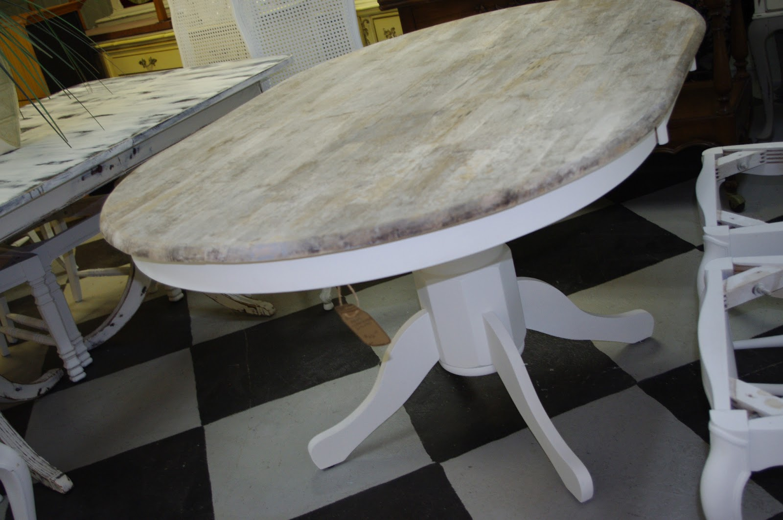 Coastal Chic Boutique Rustic Weathered Oval Dining Table SOLD