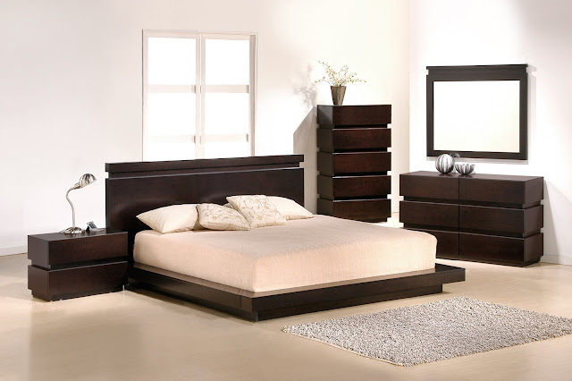 brown wooden affordable bedroom sets with modern wood low profile bed and beautiful wood vanity plus bedside table